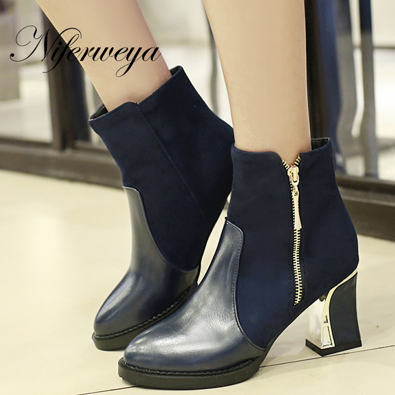 206 Fashion women winter shoes big size 34-48 high heels zipper decoration Pointed Toe Ankle boots zapatos mujer AYY-672 big size 31 47 spring autumn women shoes fashion pointed toe ankle strap flats beading decoration flat sandals zapatos mujer