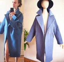 Mulheres casaco de lã 2017 Primavera New Lago Azul Rosa Longo Casaco De Lã Marfim