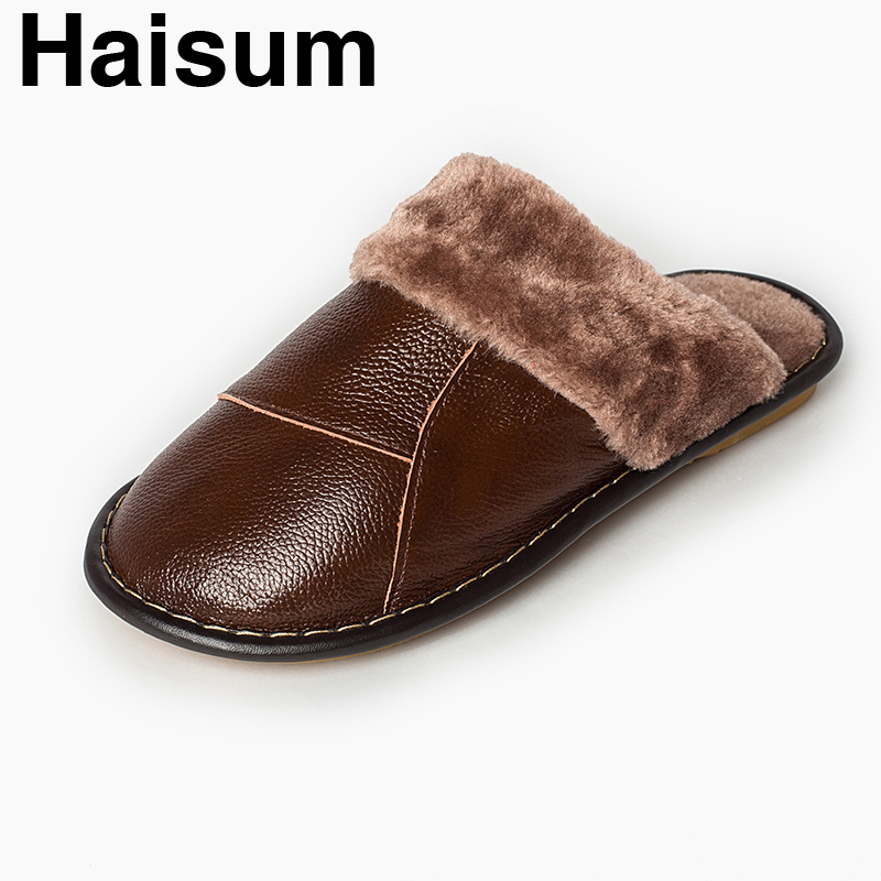 Men 's Slippers Winter genuine Leather Home Indoor Non - Slip Thermal Slippers 2018 New Hot Haisum H-8004 men s slippers winter pu leather home indoor non slip thermal slippers 2018 new hot haisum h 8007