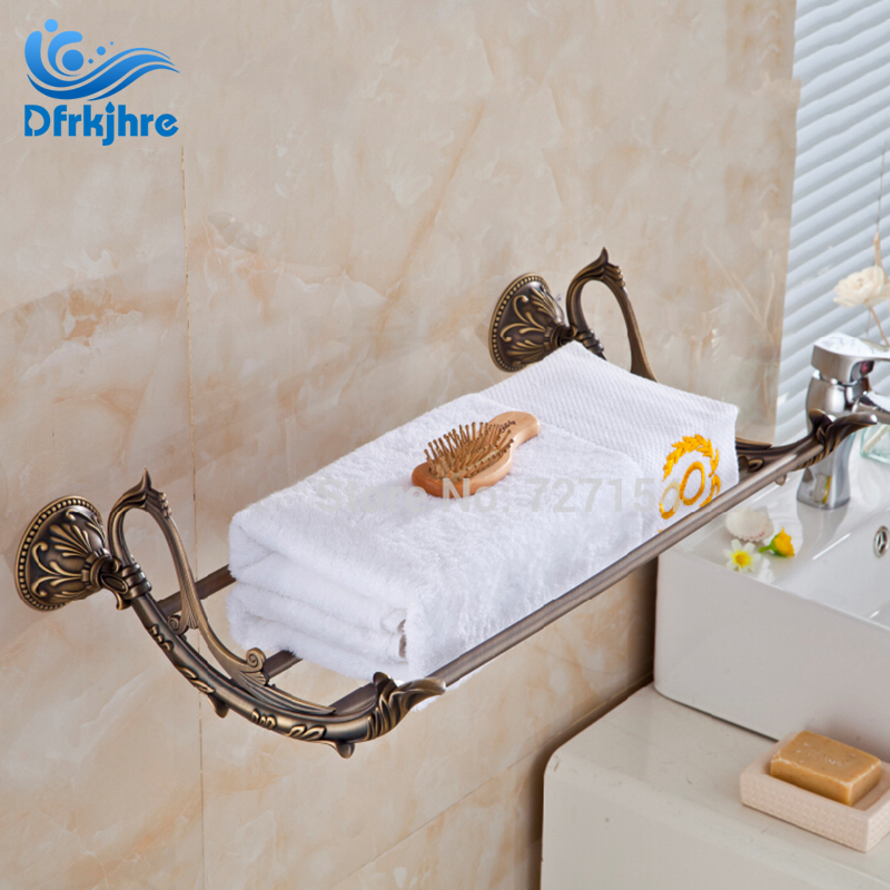 Free Shipping! New CLassic Antique Brass Bathroom Towel Shelf Storage Holder Wall Mounted Shelf free shipping wall mounted space aluminum black golden paper towel shelf phone toilet paper holder