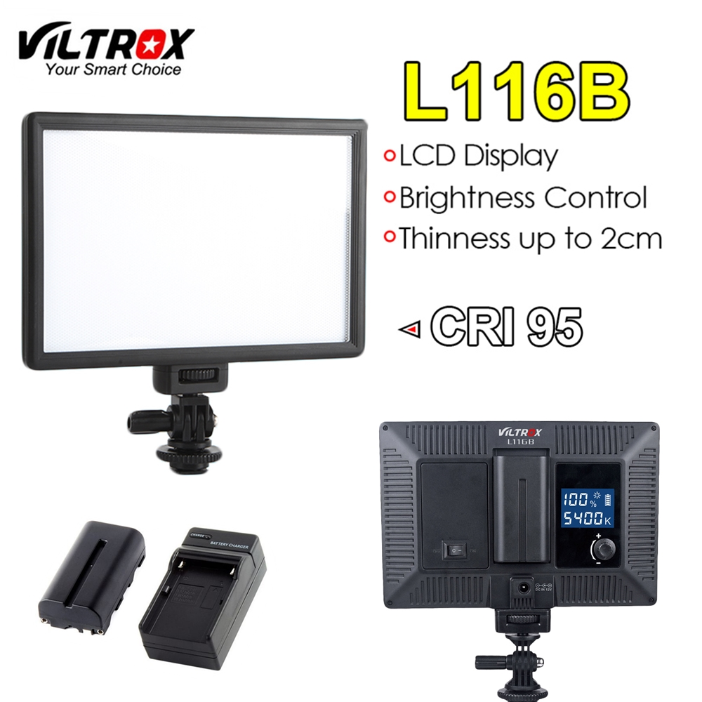 Viltrox L116B Camera LED Video Light Slim LCD Display Dimmable Studio Lamp Panel Battery Charger for