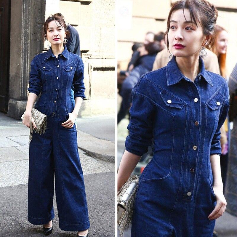 Denim   Jumpsuit   Women Romper Long Sleeve Spring Autumn Wide Leg Jeans   Jumpsuit   Female 2019 Streetwear Overalls