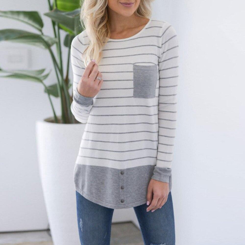 2018 Striped T Shirt Women Autumn Tops Long Sleeve Tshirt Women Button Cotton T-Shirt Tee Shirt Femme Camisetas Mujer Verano A40