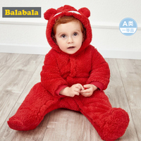 Balabala Infant Baby Boy Girl Fleece Critter Snowsuit Hooded Jumpsuit 100% Cotton Lined Snap Closure Winter Newborn One Piece