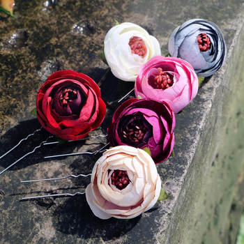 Camellia Flower bud  woman Hairpins wedding party Hair Clip Bridal Wedding Hair Flower Bridesmaid Jewelry Hairstyles accessories
