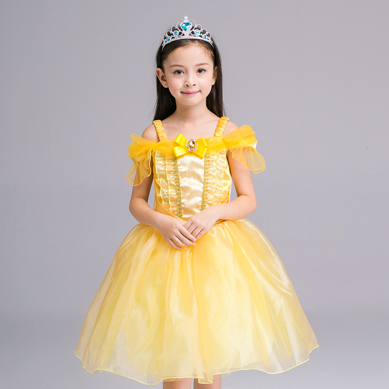 100-140cm girl kid princess belle dress Beauty and the Beast  Halloween Costumes child Girl birthday gift Costume Dress Cosplay
