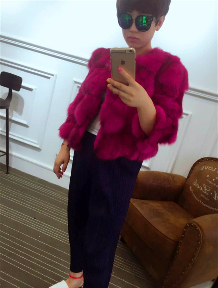 Women real fox fur coat o-neck fur outerwear female three quarter sleeve short design patchwork fox fur jacket