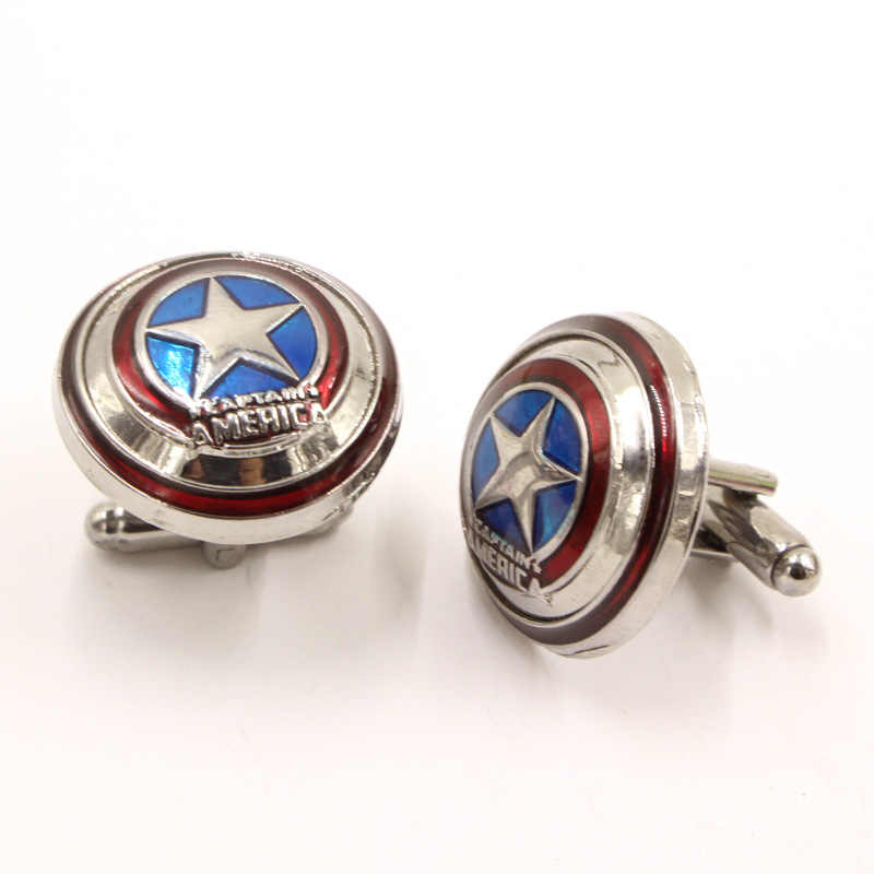 Marvel Avengers Captain America Khuy Măng Sét Siêu Anh Hùng Captain America Shield Logo Dây Nút Bấm Dành Cho Nam Trang Sức