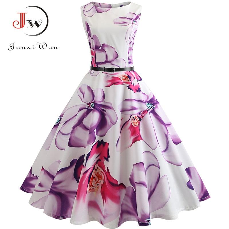 Floral Print Vintage Dress Women  Summer Pin Up Elegant Party Dresses 50s Rockbility Robe Plus Size A-Line Office Vestidos