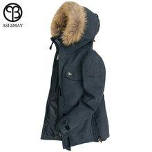 Asesmay 2018 por los hombres chaqueta de invierno grueso caliente 90% pato blanco abajo con capucha de piel Natural Collar Man capa impermeable hombres Parkas