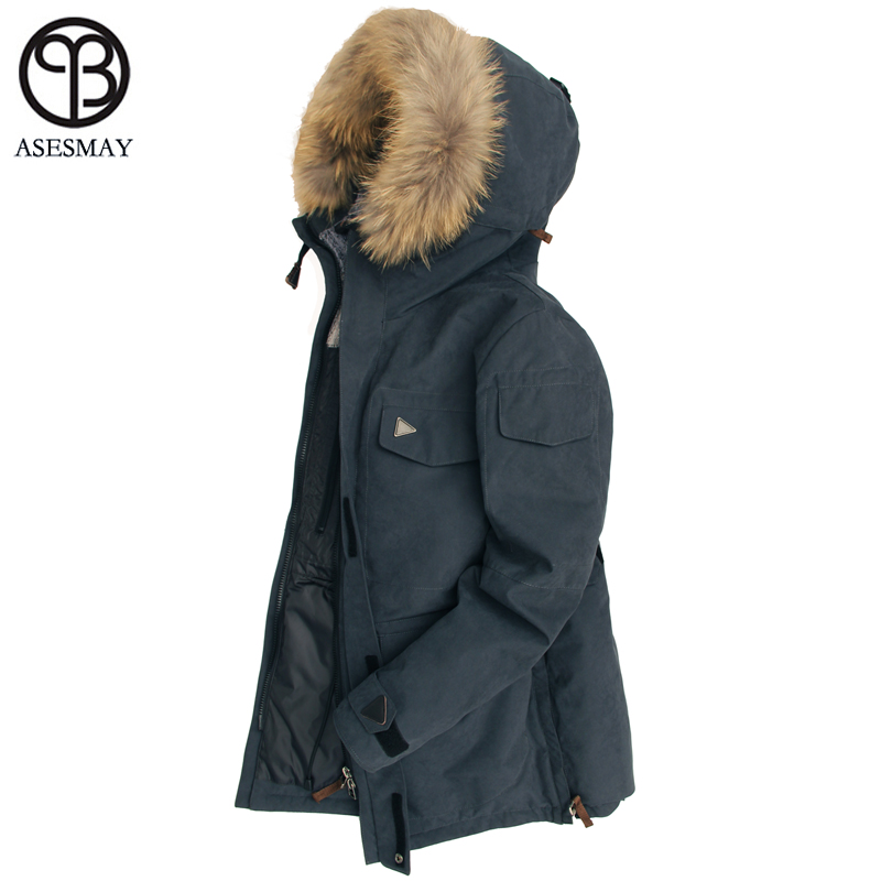 Asesmay 2018   Down   Jacket Men Winter Thick Warm 90% White Duck   Down   Hooded Natural Fur Collar Man   Down     Coat   Waterproof Men Parkas