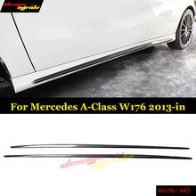 Carbon Fiber Side Skirt Bumper Lip For Mercedes W176 A45 & CLA45 Sport Editon A180 CLA 200 with AMG package