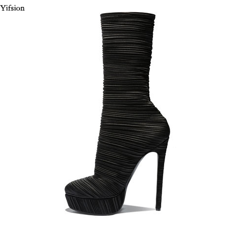 Yifsion New Women Mid Calf Boots Sexy Stiletto High Heel Shoes Nice Round Toe Ladies Black Party Prom Shoes Women US Size 3-10.5Yifsion New Women Mid Calf Boots Sexy Stiletto High Heel Shoes Nice Round Toe Ladies Black Party Prom Shoes Women US Size 3-10.5