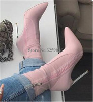 Brand Design Women Fashion Pointed Toe Metal Stiletto Heel Short Boots Suede Leather Pink Red Yellow High Heel Ankle Booties