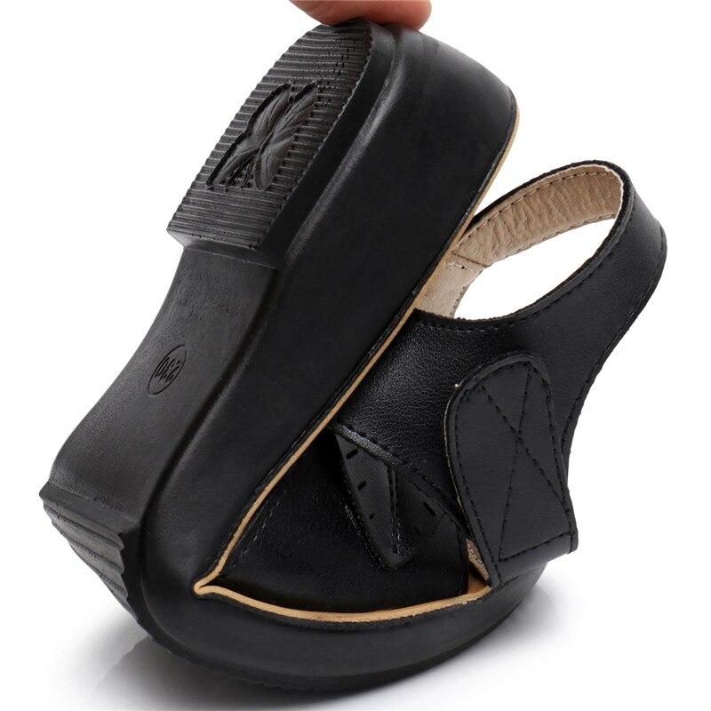 2018 new women sandals genuine leather mother's sandals flat female sandals soft bottom antiskid women sandals plus size 35-41 5