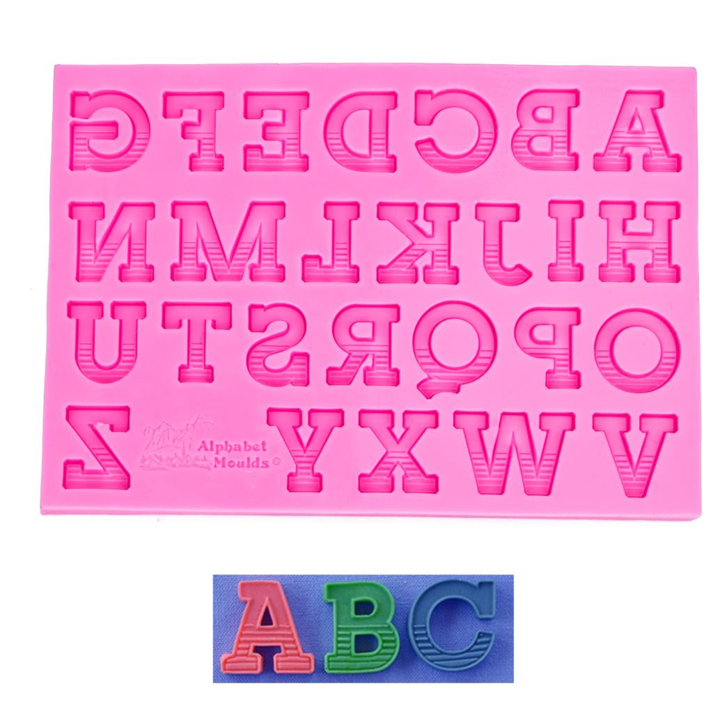 26 <font><b>letters</b></font> shaped 3D fondant <font><b>cake</b></font> silicone mold for polymer clay molds chocolate pastry candy making <font><b>decoration</b></font> <font><b>tools</b></font> F1160 image
