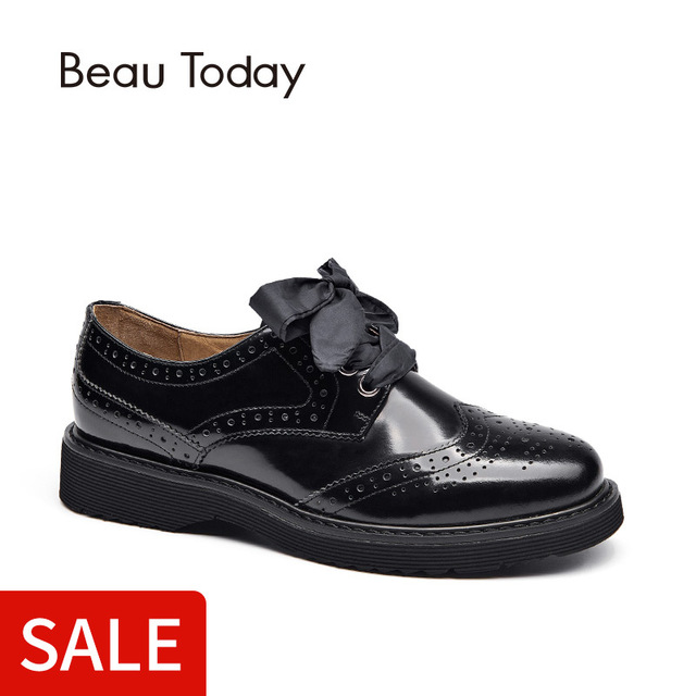 507f9ff09a8ec BeauToday Brogue Shoes Women Genuine Cow Leather Lace-Up Flats Round Toe  Glazed Patent Leather 3 Kinds of Shoelaces 21089
