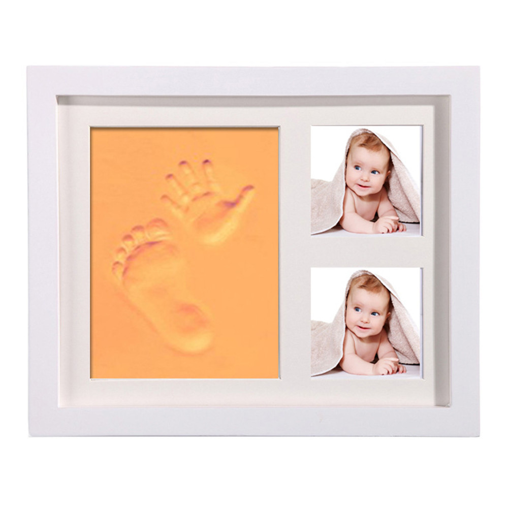 3D Molds For Newborns Wooden Photo Frame Baby Handprint Footprint Molds Babies Souvenir Casting Room Decoration