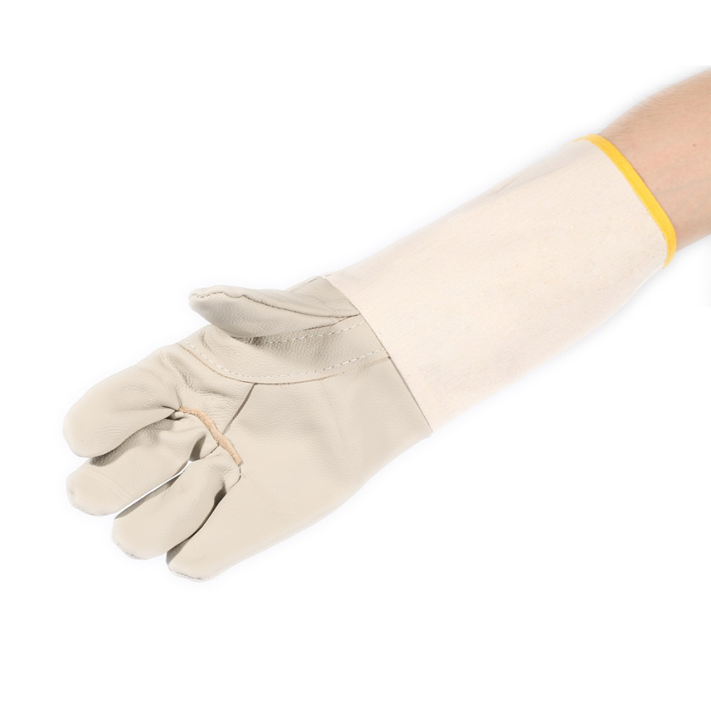 Universal A Pair Extended Long Cowhide + Canvas Welding Safety Work Gloves For Car or Mo ...