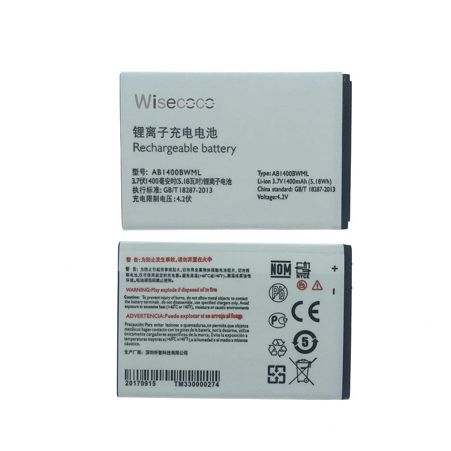 Wisecoco NEW AB1400BWML 1400mAh Battery for Philips S308 Cell Phone + Tracking Number