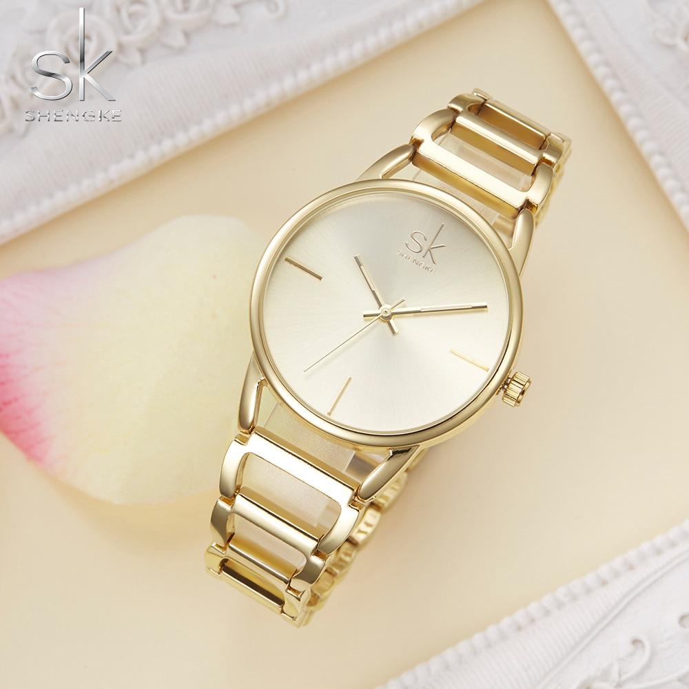 Shengke Pulsera Reloj de mujer Luxury Golden Watch Top Brand Wrist - Relojes para mujeres