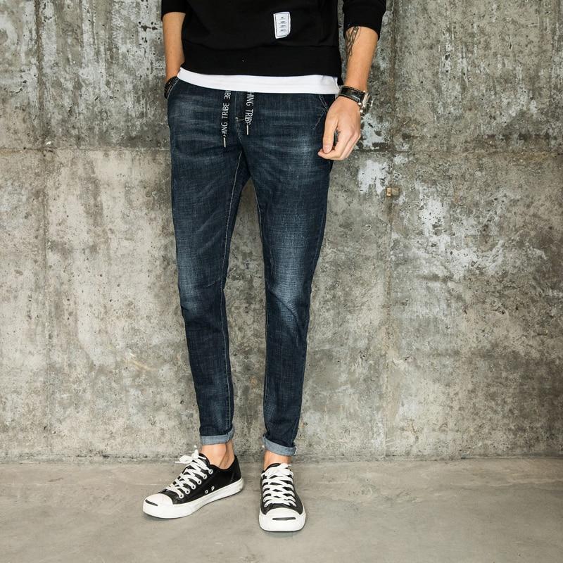 High Quality 2018 New Fashion Skinny Jeans Men Solid Long Denim Pants Scratched Hole Slim Fit Pencil Pants Black Blue 8007