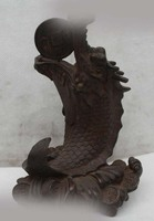 7 Chinese Folk Bronze Lucky Money Drawing Dragon Cyprinoid Play Bead Statue