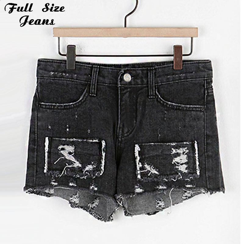 Plus Size Vintage Ripped Hole Fringe Black Denim Shorts 4Xl 5Xl Women Casual Patchworked Jeans 2016 Summer Girl Hot Short