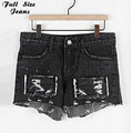 Plus Size Vintage Ripped Hole Fringe Black Denim Shorts 4Xl 5Xl Women Casual Patchworked Jeans Shorts 2017 Summer Girl Hot Short