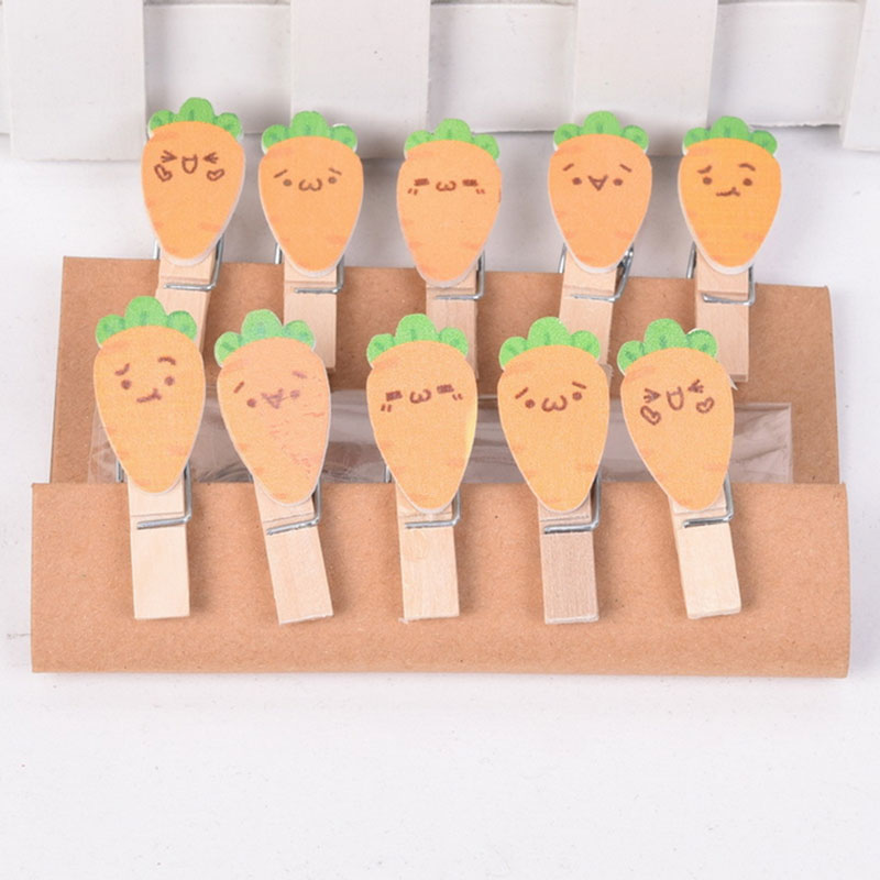 10 Pcs/pack Cartoon Feifei Rabbit Photo Clips Wooden Clip DIY  Paper Craft Peg Pin Clothespin Craft Clips Party Decoration