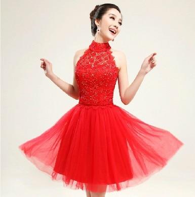 Red Halter Cocktail Dress - Ocodea.com