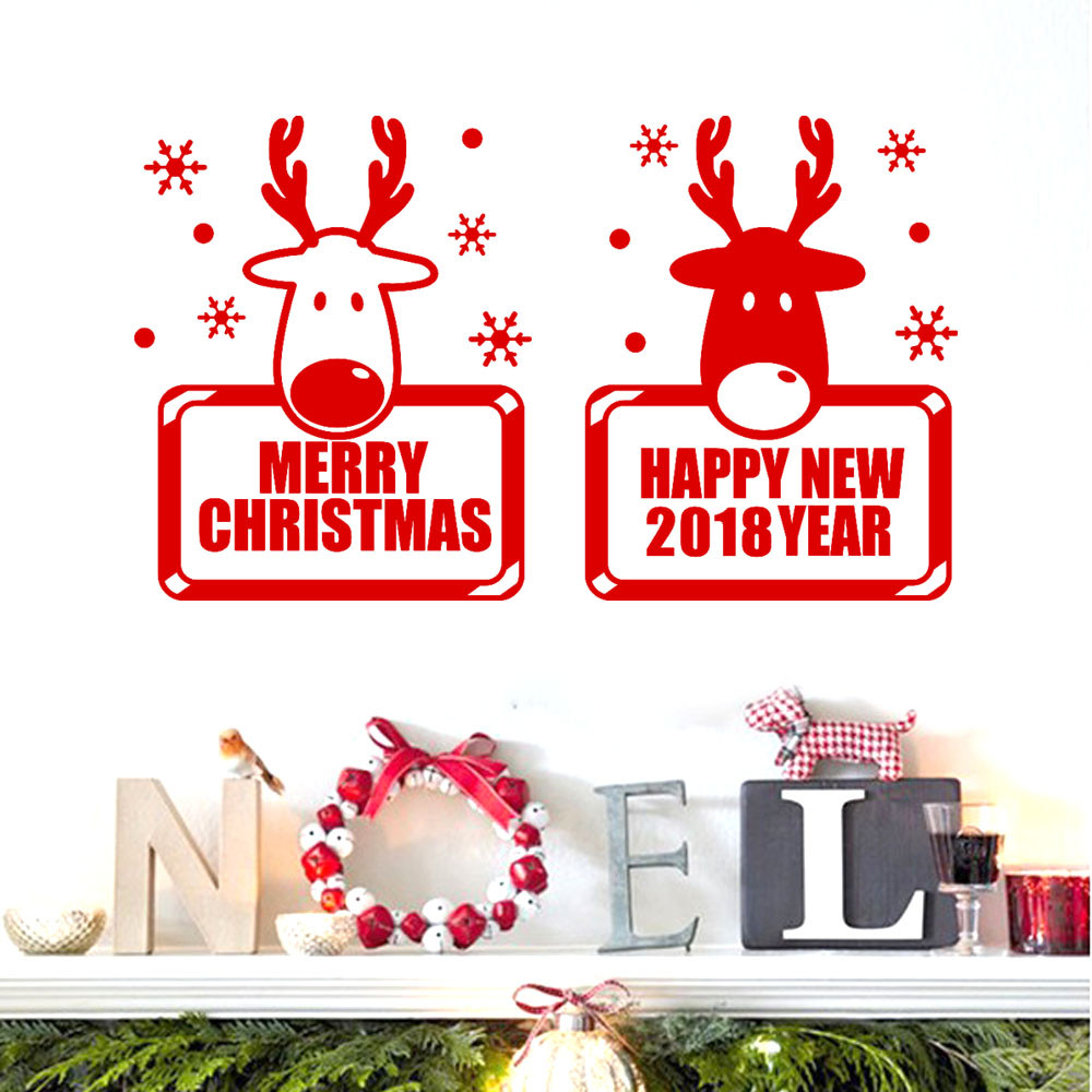 Aliexpress buy 2018 happy new year merry christmas wall aliexpress buy 2018 happy new year merry christmas wall sticker elk mural pvc wallpaper shop windows wall stickers living room home decor from amipublicfo Gallery
