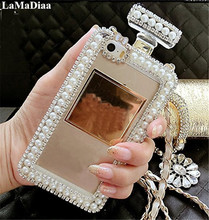 Bling Diamond Pearl Perfume Bottle Lanyard Chain TPU Case Handbag Case Cover For Samsung S7 edge S8 S9 Plus Note 5 8 9 Case