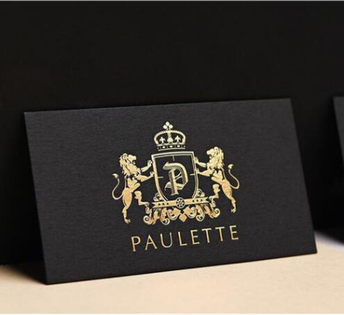 custom print business card high quality 500gsm black paper gold silve foilstamping nama card - Foil Print Business Cards