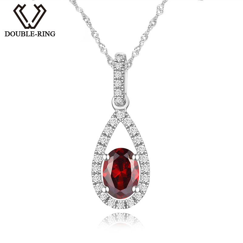DOUBLE-R Natural Garnet Pendant for Lady 925 Sterling Silver Jewelry Beautiful Water Drop Pendants for Women Gift CAP03226SA-1