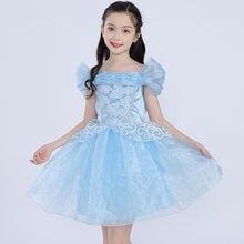 Летнее платье принцессы Золушки для девочек детский короткий