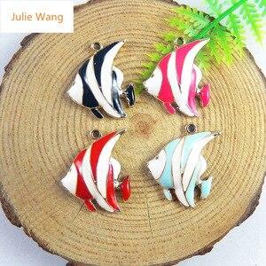Эмалированная рыба Julie Wang, 6 шт., подвески из сплава с каплями масла, яркие тропические украшения в виде рыб, ручной работы, браслет, аксессуар...