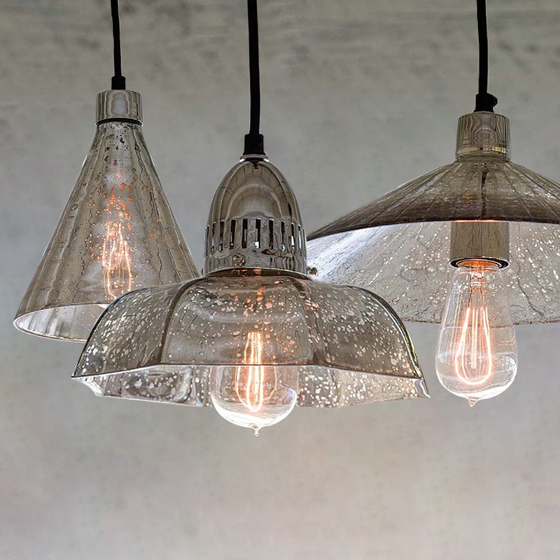 Bedroom Retro Antique Glass pendant lights for dining room grey silver shade Coffee Bar lighting Vintage led pendant lamp AvizeBedroom Retro Antique Glass pendant lights for dining room grey silver shade Coffee Bar lighting Vintage led pendant lamp Avize