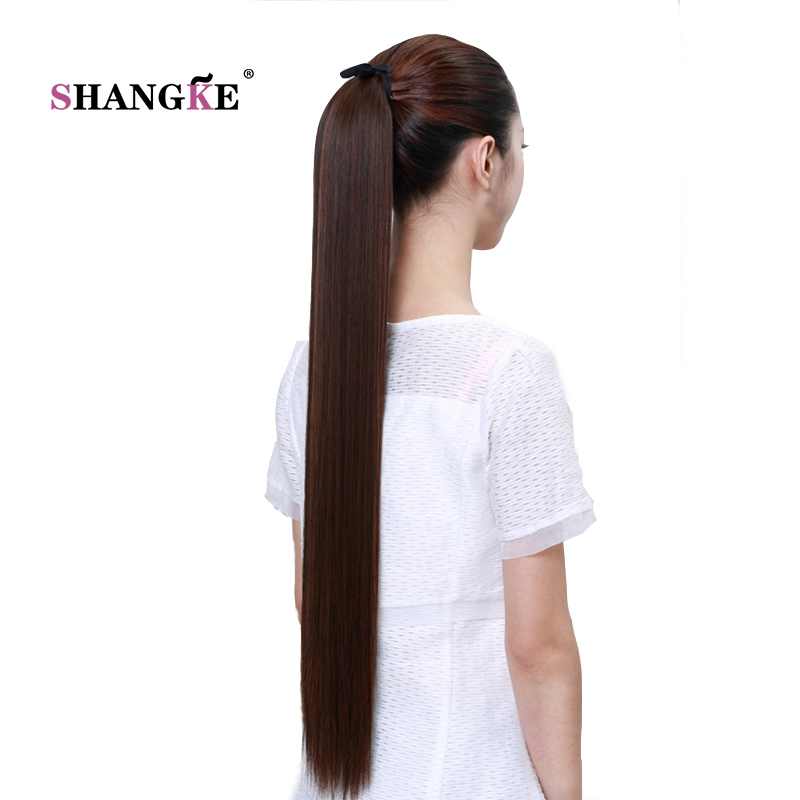 SHANGKE Hair 30'' Long Straight Ponytails Clip In Ponytail  Synthetic Pony Tail Heat Resistant Fake Hair For Women