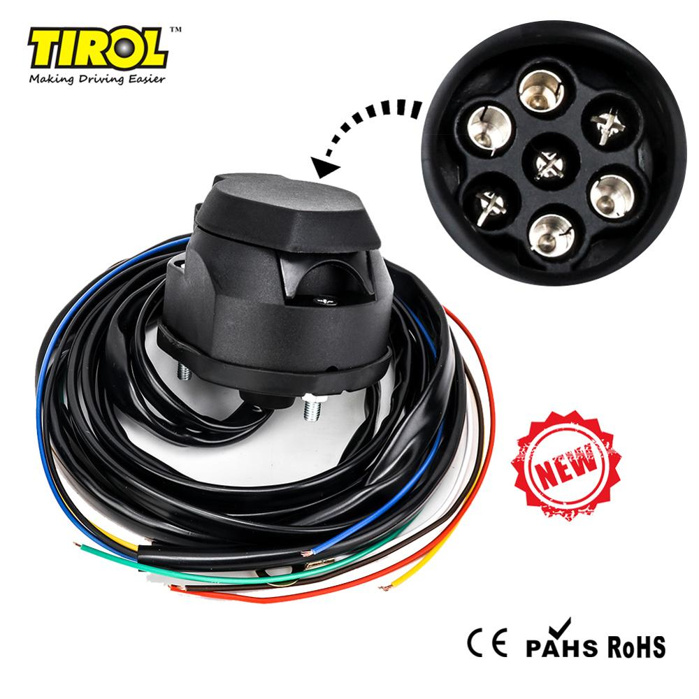 Tirol T25557a 7 Pin Trailer Socket Box PVC With Waterproof With 1.5m Cable 12V Europe Trailer Connector Free Shipping