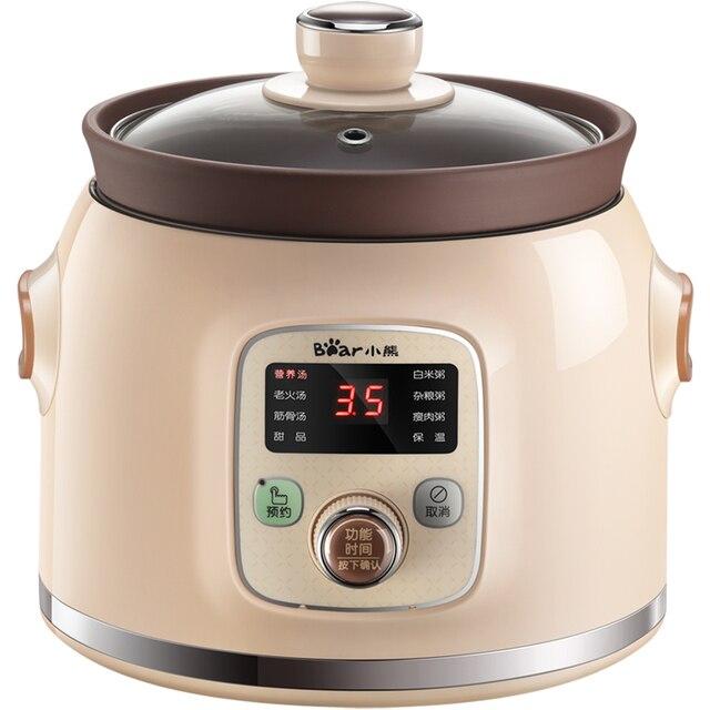 Bear Brand 220V Multifunctional Electric Slow Stewing Pot Machine Full-automatic Ceramic Electric Multi Cooker EU/AU/UK