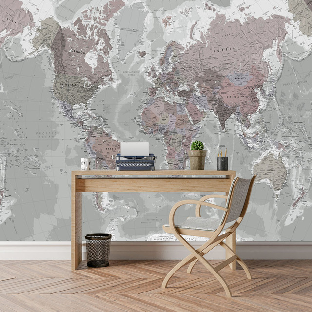 Gray Modern World Map Wall Decal 4