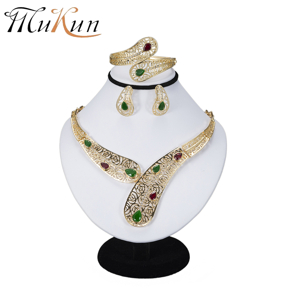 MuKun Turkish Costume Jewelry Sets Nigerian Wedding Dubai African Beads Jewelry Sets For Women Round Gold Color Jewelry Sets