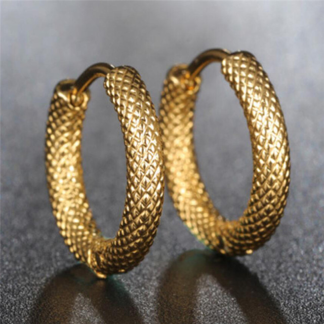 Punk Gold Stainless Steel Hoop Stripes Earrings