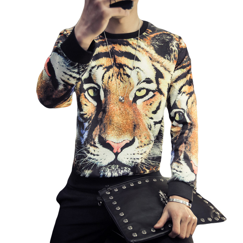 Europe Designs Mens Boys T Shirt 3d Tiger Print Long ...