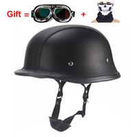 AHP PU Leather Motorcycle Helmets Vintage Open Half Face Moto Goggles Mask Gift Women Men Retro