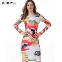 Vintage Autumn Office Work Pencil Dress Women 2017 Elegant Women Floral Print Bodycon Dress Ladies Flower
