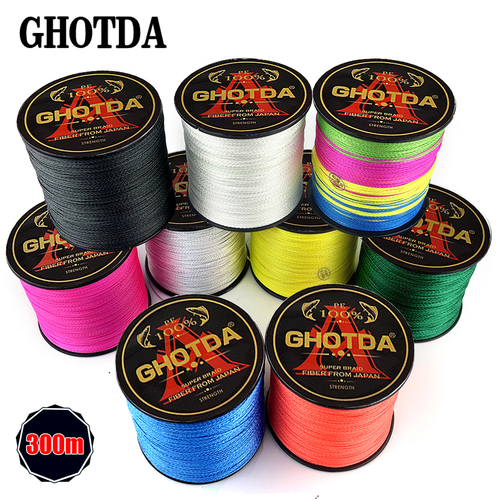300M Brand GHOTDA Japan Multifilament 100% PE Braided Fishing Line 10LB to 80LB