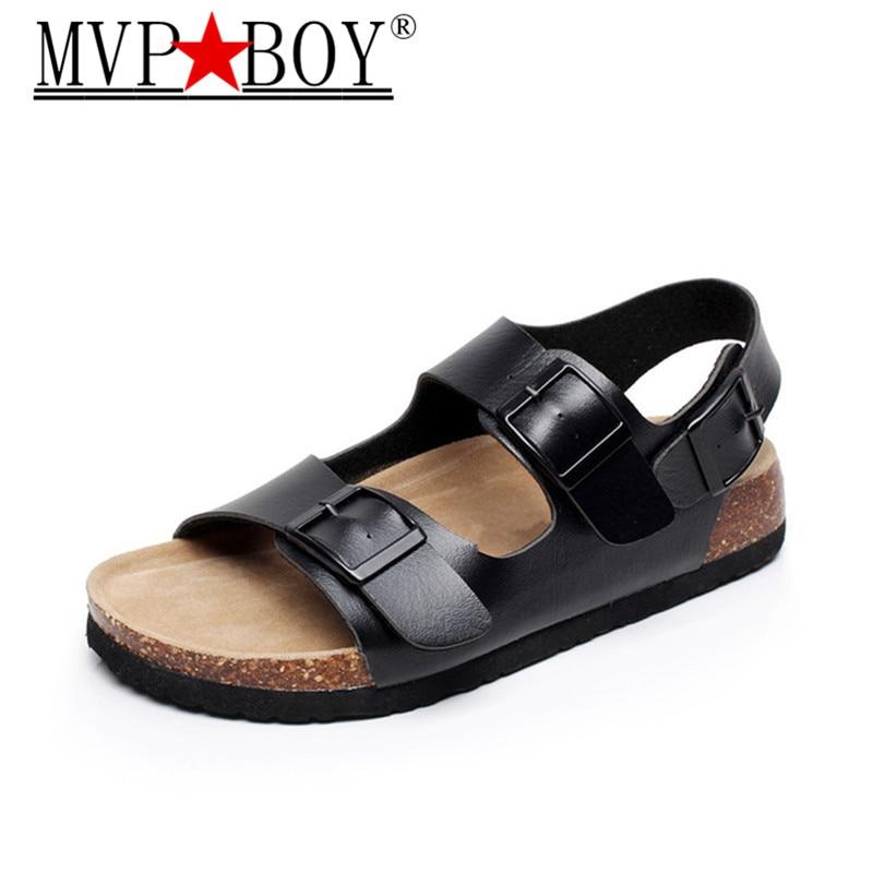 Mvp Boy Fashion Cork Sandals 2019 New Men Casual Summer Beach Gladiator Double Buckle Strap Sandals Shoe Flat Black White 35-44