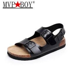 Mvp Junge Mode Kork Sandalen 2019 Neue Männer Casual Sommer Strand Gladiator Doppel Schnalle Sandalen Schuh Flache Schwarz Weiß 35-44